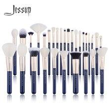 Jessup escovas de maquiagem conjunto 6 pces-30 pces prussiano azul/golden sands fundação escova sombra pó compõem a escova