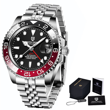 2020 New PAGANI DESIGN Luxury Men GMT Automatic Machinery Watch 40MM Ceramic bezel Jubilee Strap Sapphire 100M Waterproof Clock - Black red