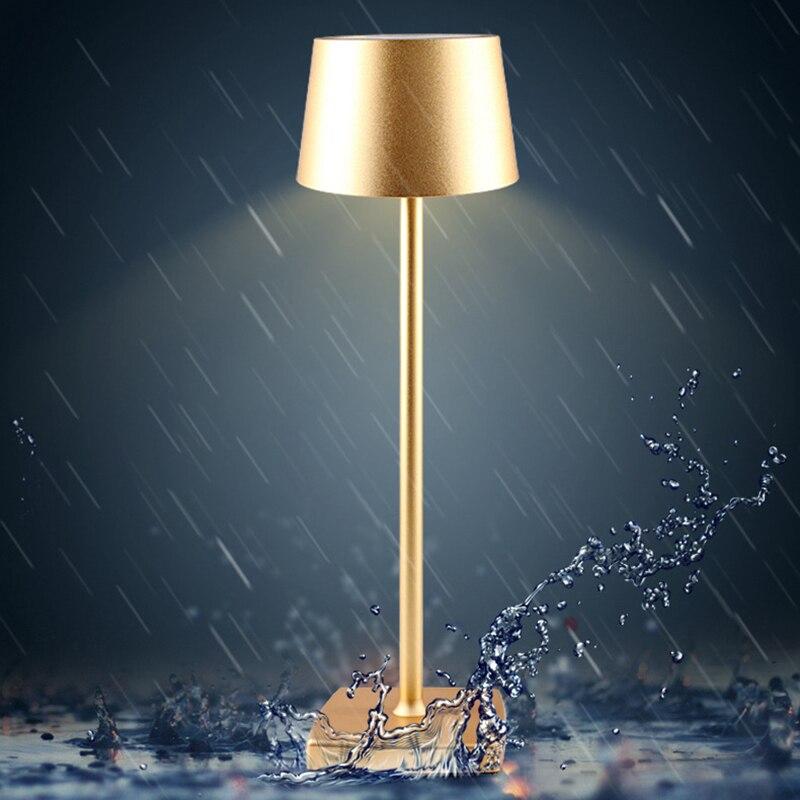 Ledアルミ合金防水デスクランプタッチ調光充電式のための金属製のテーブルランプバーリビングルーム読書ブックライト