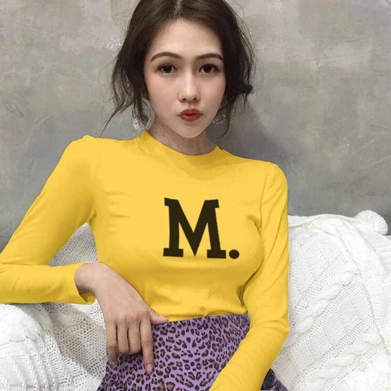 Phong Cách Hàn Quốc Nữ Áo Thun Dài Tay Nữ Hip Hop Dạo Phố In Chữ Nữ Teen Đáng Áo Thun Nữ Mùa Thu