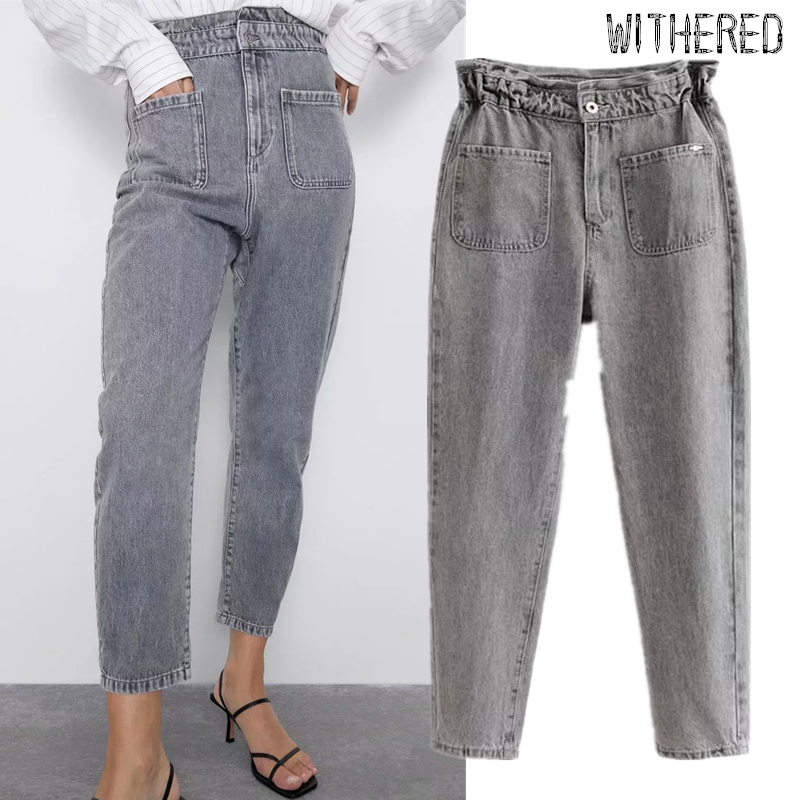 Withered England Vintage Washed Mom Jeans Woman Regular High Waist Jeans Pockets Cargo Jeans For Women Boyfriend Jeans For Women