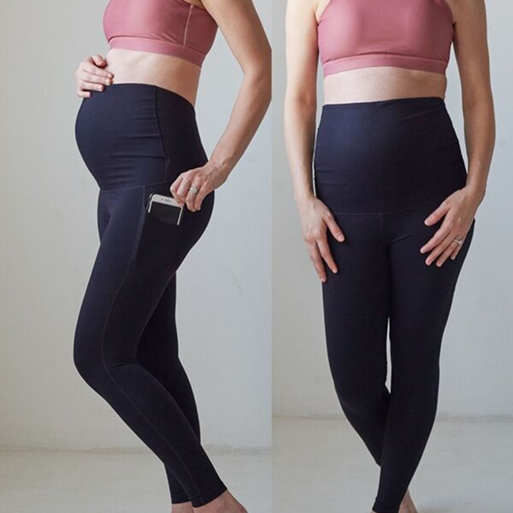 Women Workout Casual Leggings Long Pregnancy Over Belly Maternity Yoga Pants Support Soft With Pockets Solid Stretch Breathable
