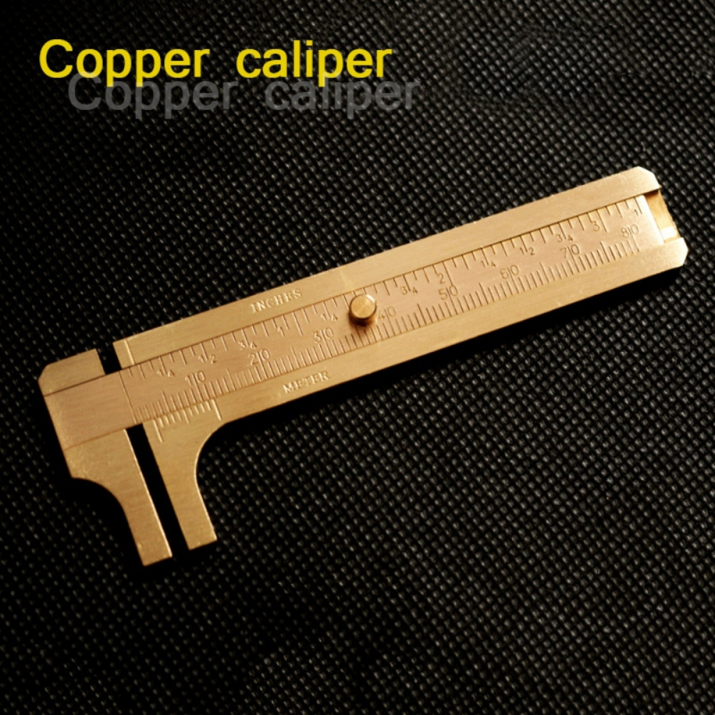 8cm/12cm Double/One Scale Brass Copper Ruler Vernier Calipers Portable Mini Pocket Tool Outdoor Tools Camping Climbing Tool