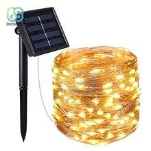 10 м светодиодный уличный солнечный светильник 100 светодиодный s гирлянды сказочные Праздничные рождественские вечеринки гирлянды солнечные садовые Водонепроницаемые огни
