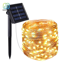 цена на 10m LED Outdoor Solar Lamp 100 LEDs String Lights Fairy Holiday Christmas Party Garland Solar Garden Waterproof Lights