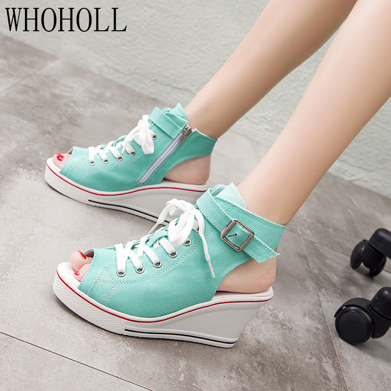 2020 Summer New High Canvas Women's open toe Shoes Canvas Sandals Wedge With Open Toe Hollow Large Size Women Shoes
