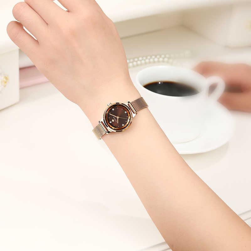 WWOOR luksusowe złota róża kobiety zegarki wodoodporne panie kwarcowy zegarek siatka ze stali nierdzewnej zespół dorywczo darmo bransoletka pudełko 2019