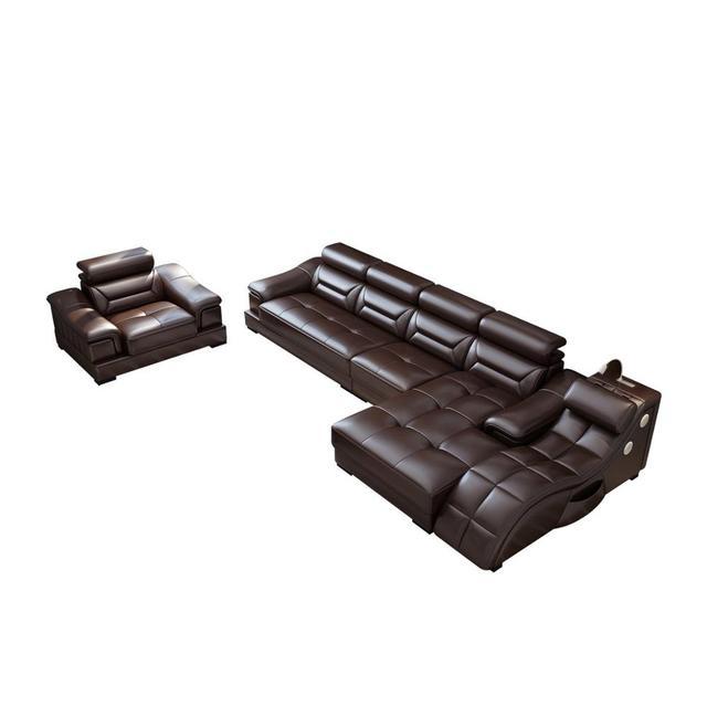 Living room Sofa set диван мебель кровать muebles de sala L shape massage  leather sofa cama puff asiento sala futon 5