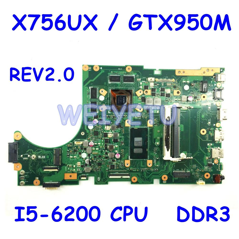 X756UX Motherboard i5-6200 CPU For <font><b>ASUS</b></font> X756UX X756 <font><b>X756UXK</b></font> X756U X756UV X756UJ X756UB Laptop Mainboard REV 2.0 DDR3 Test ok image