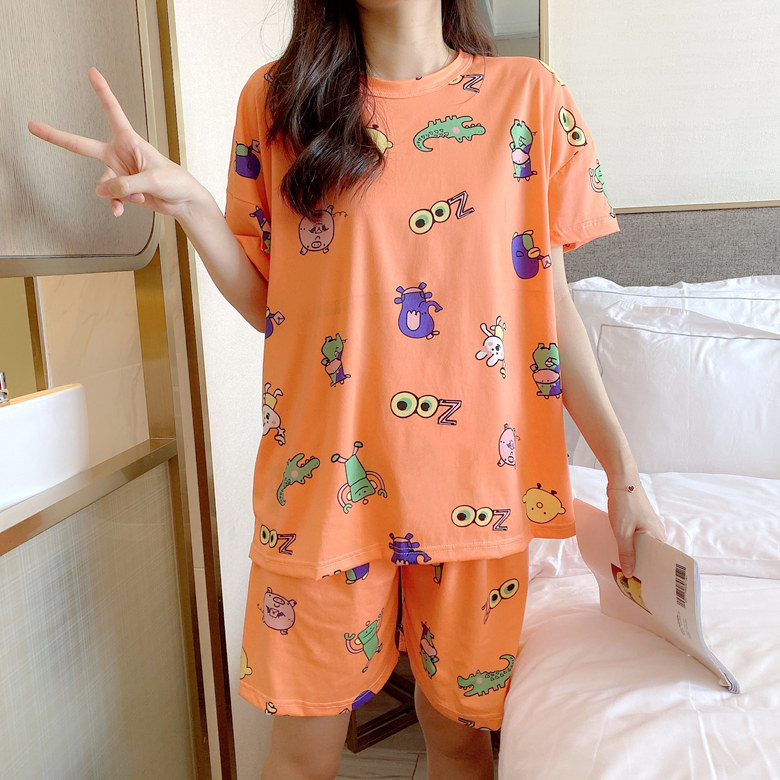 Summer Short-sleeved Pajamas Women's Orange Cow M -Xxl