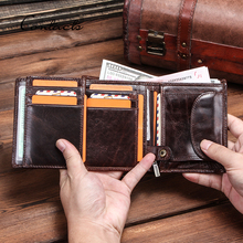 CONTACT'S 100% Genuine Leather Wallet Men Multi-function Car