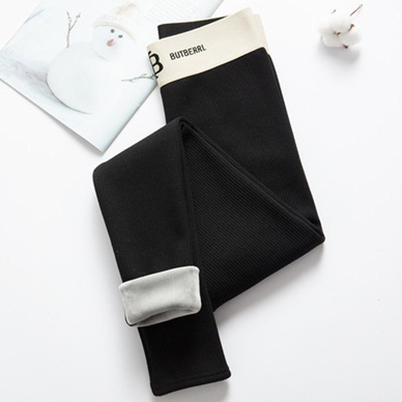 ELIfashion Warm Women's Plus Soft Velvet Winter Thread Leggings Ankle-Length Keep Warm White With Letter High Elastic Cord Waist