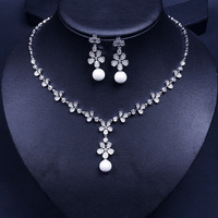 Ball Pearl Silver Color Fahsion Luxury Wedding Jewelry Sets for Women AAA Cubic Zirconia Earrings Necklaces Set