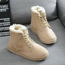 Women Snow Boots Flat Lace Up Winter Plush Platform Ladies Warm Shoes 2019 New F
