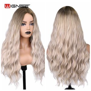 Image 3 - Wignee Ombre Long Wavy Heat Resistant Synthetic Wig For Women Black to Blond American Cosplay/Party Middle Part Natural Hair Wig