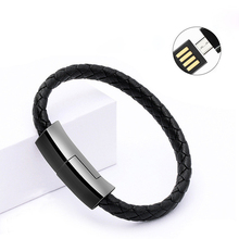 Fashion Leather Bracelet Micro USB Type-C Cable For iphone 8 Samsung Android Phone Power bank Portable Wearable Charge Wire