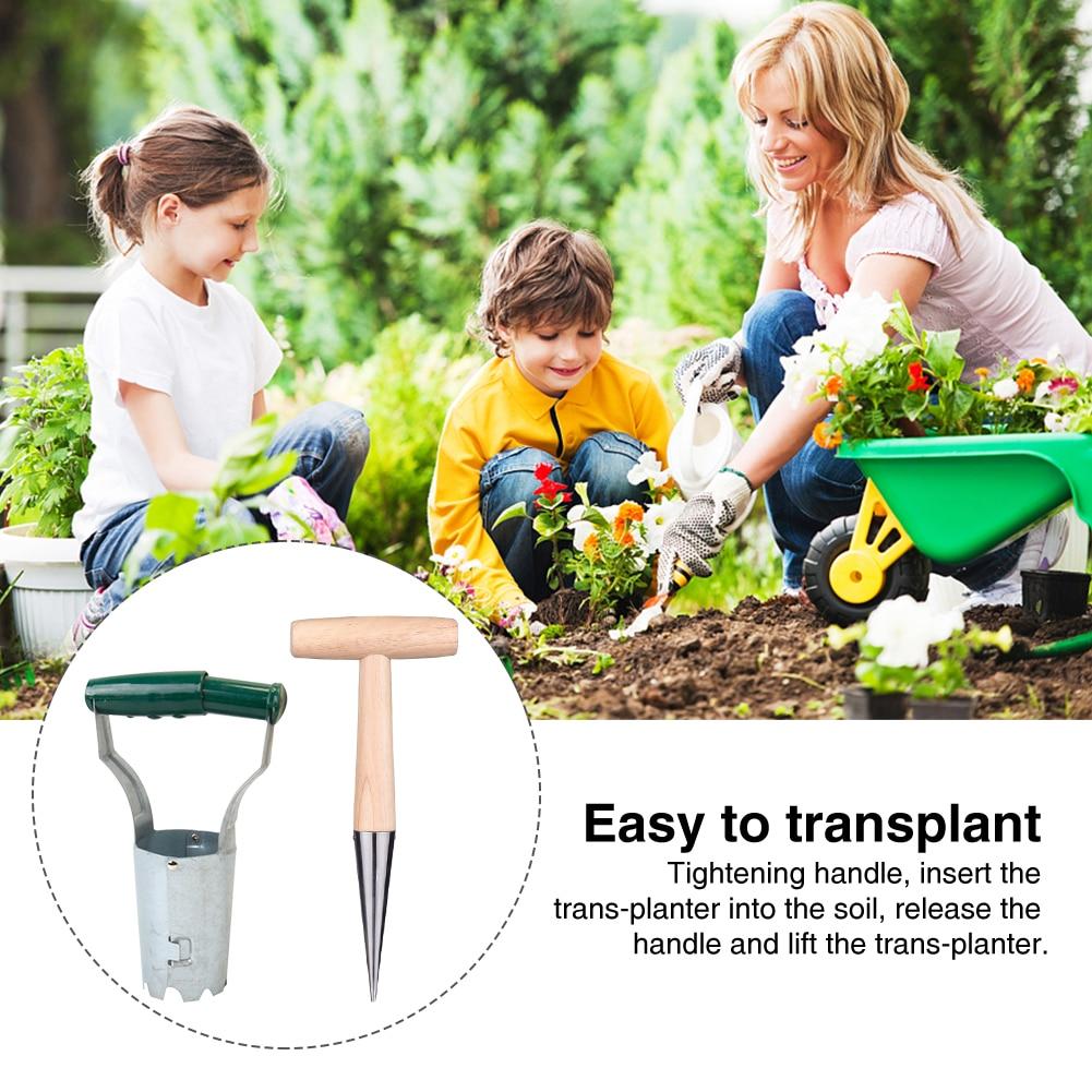 2pcs Dibber With Hole Puncher Vegetable Flower Portable Succulents Seedling Transplanter Set Handheld Garden Tool Agricultural