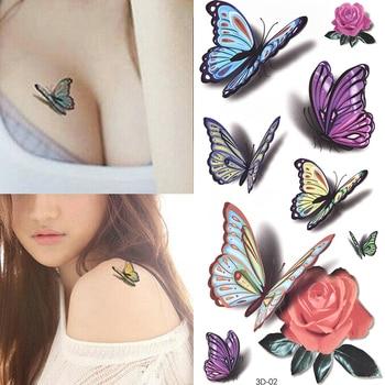 Temporary Tattoos Sticker for Women Body Art Tattoo Sticker 3D Butterfly Rose Flower Feather Tattoo Waterproof Halloween Gift 4