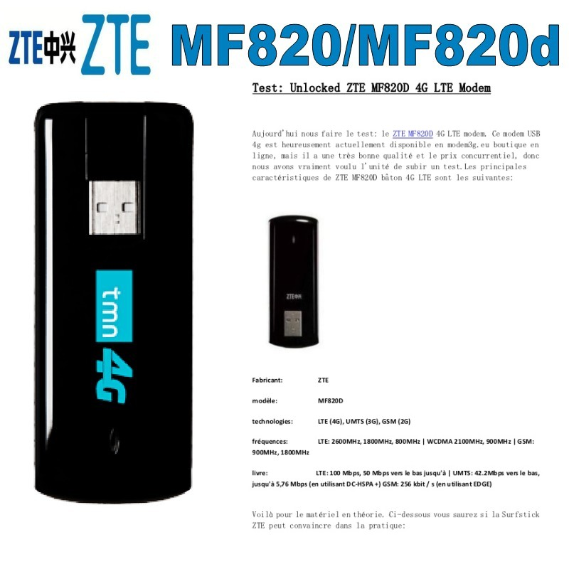 ZTE MF820 MF820D 4G Usb Dongle LTE FDD800/1800/2600MHZ Unlocked 4G Modem Free Shipping