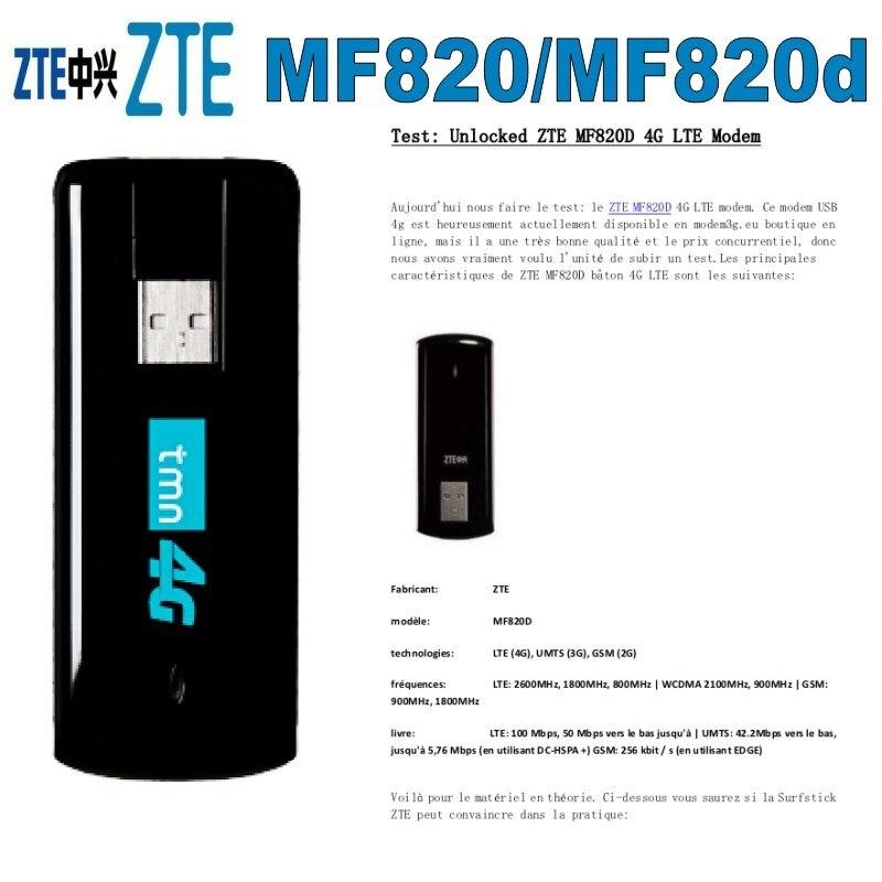 ZTE MF820 MF820D 4G Usb Dongle LTE FDD800/1800/2600MHZ Unlocked 4G Modem Free Shipping