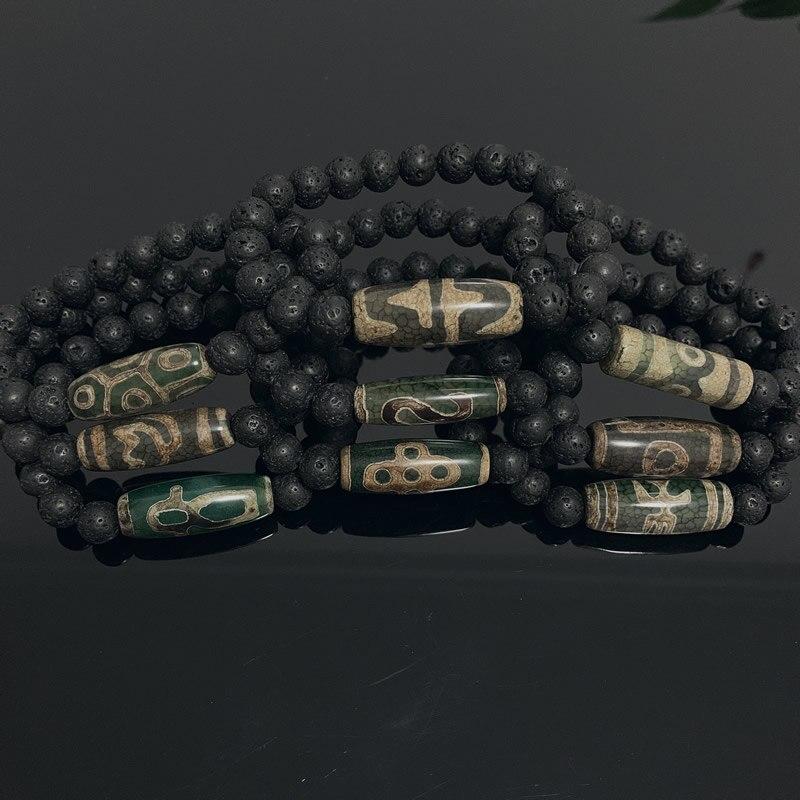 Energy Gray Green Natural Tibetan Dzi Agates Bracelets Vintage Buddha Prayer Nine-eyed Agates Charm Black Lava Bracelets Male