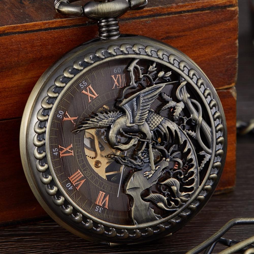 Retro Gorben Pocket&Fob Mechanical Pocket Watches Engraved Men Women Pocket Watch Chain Necklace Clock