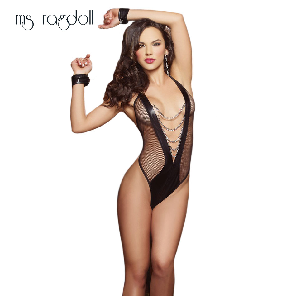 Ms Ragdoll Sexy Lingerie Black Mesh Spliced Erotic Open Bra Female Prisoner Handcuffs Costumes Temptation Transparent Sleepwear