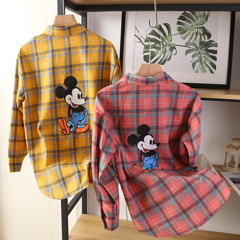 Cartoon Mickey Print Summer Blouses Women Turn Down Collar Long Sleeve Single Breasted Loose Vintage Harajuku Cotton Tops 2020 Blouses & Shirts  - AliExpress