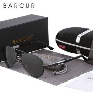 Image 1 - BARCUR Aluminium Magnesium Polarisierte Sonnenbrille Männer Fahren Spiegel Sonnenbrille Männlichen Oculos