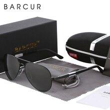 BARCUR 알루미늄 마그네슘 편광 선글라스 남자 운전 거울 태양 안경 남성 Oculos