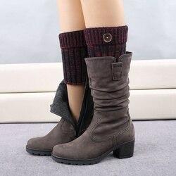 Bein Wärmer Winter Mode Frauen Warme Kurz Taste Dekorative Thermische Acryl Strick Boot Manschetten Socken Abdeckung Schuh Zubehör