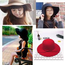 Осенне-зимняя теплая винтажная широкополая шляпа для мальчиков и девочек, Мягкая шерстяная фетровая Детская шляпа для защиты от солнца и пляжа
