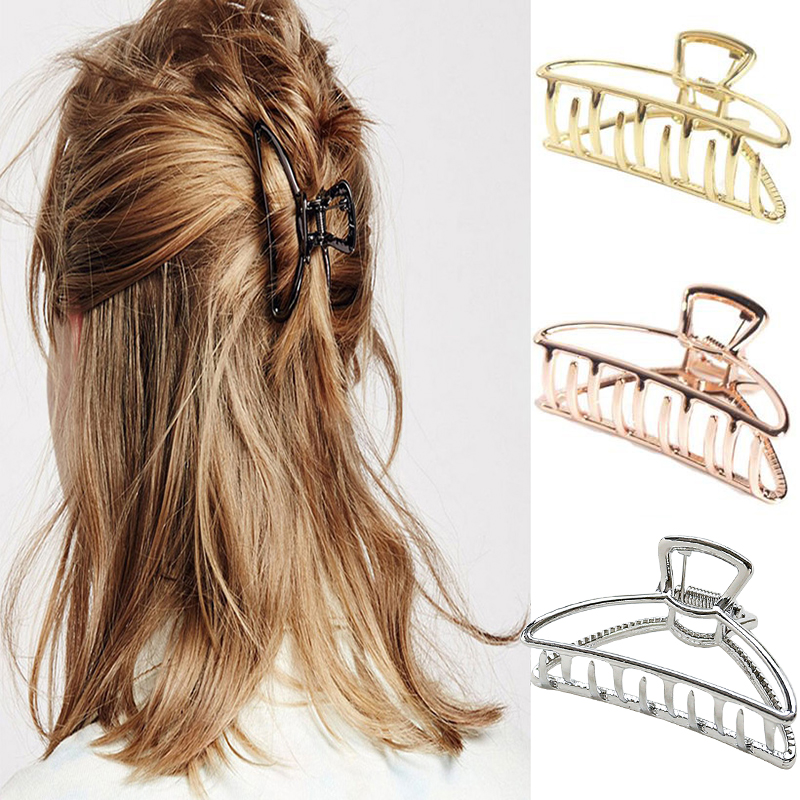 2019 Women Girls Geometric Hair Claw Clamps Hair Crab Moon Shape Hair Clip Claws Solid Color Accessories Hairpin Trumpet hairpin