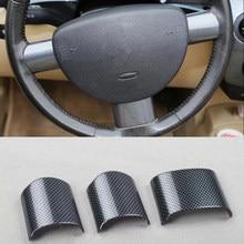 Apto para volkswagen beetle 2003-2010 3 pçs de fibra de carbono abs interior do carro volante capa guarnição molduras estilo do carro