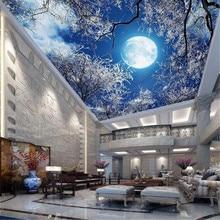 Milofi custom wallpaper wallpaper ultra high-definition moon forest snow scene sky night sky night ceiling ceiling painting