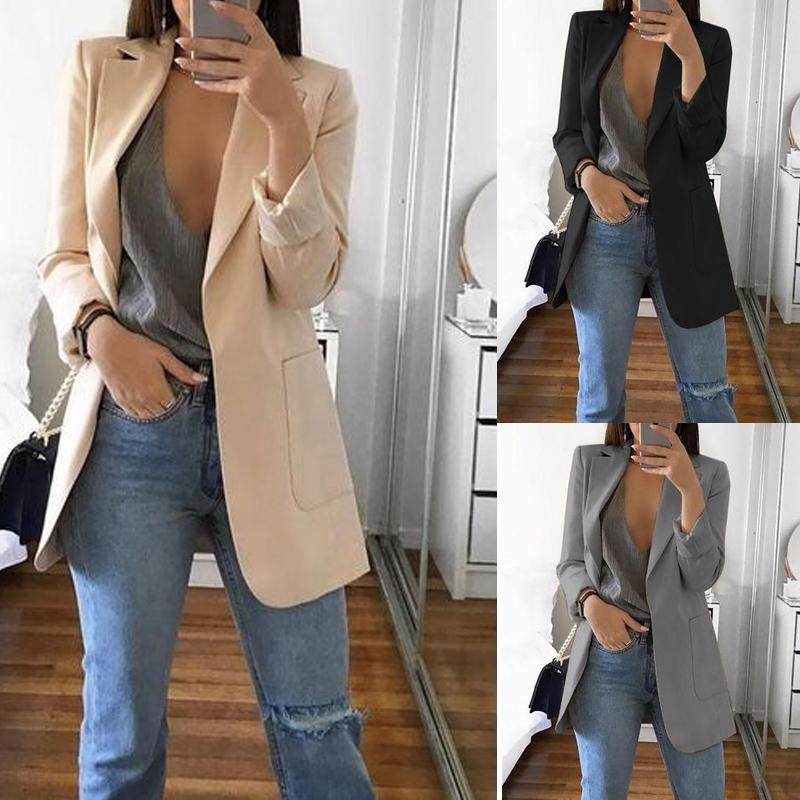 2019 European And American Women Fashion Business Office Blazer Lapel Business Attire Patch Pocket Office Uniform Tops
