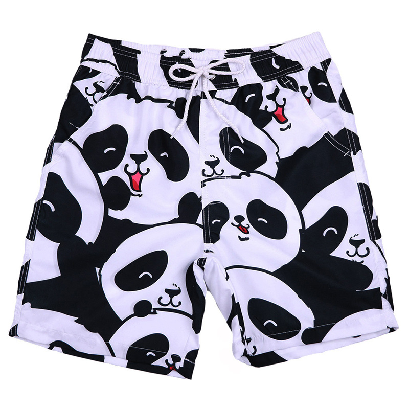 Shorts Men Panda Print Stitching Swim Trunks Quick Dry Beach Surfing Running Swimming Watershort Short Homme Grande Taille