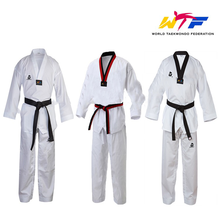 Traditional WTF Approve White Taekwondo Uniform Martial Arts Kimono WTF Taekwondo Suit Dobok Clothes Fitness Training Kids Adult mooto wtf dobok taekwondo uniform kukkiwon korea taekwondo dobok with special fabric cooton black v neck