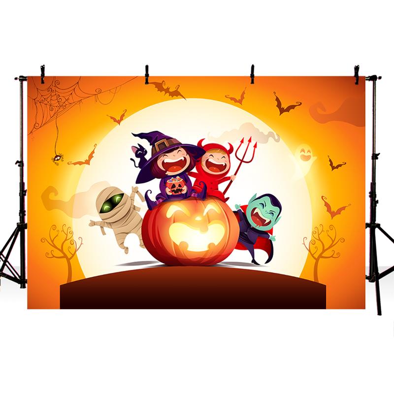 Новое Прибытие Хэллоуин Фотографии Фон Мультфильм Тыквы Призрак Летучая Мышь Фото Студия Фон Компьютер Окрашены Фон