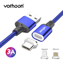 Vothoon 3A Magnetic USB Cable Fast Charging Micro USB Type C Cable For