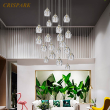 цены Modern Crystal Chandeliers Lighting LED Nordic Crystal Balls Pendant Hanging Lamp for Staircase Restaurant