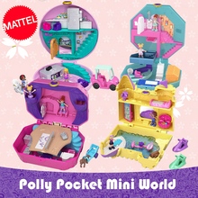 Original Polly Pocket World Mini Treasure Doll House Girl Princess Accessories Musical Dolls Box Music Kids Toys Juguetes