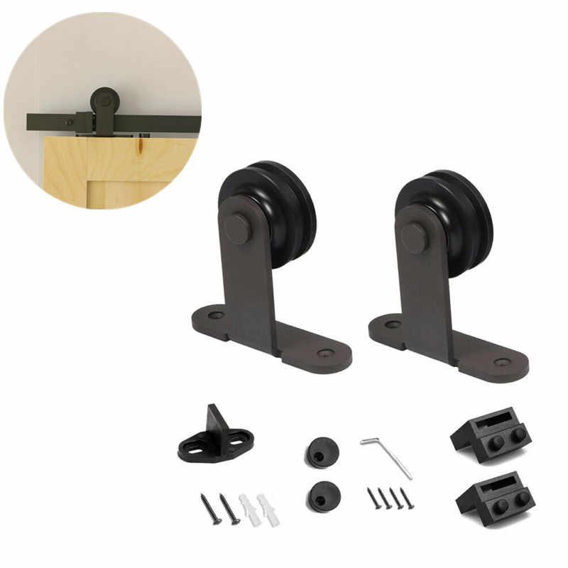 200 cm Sliding Track Wheels Rollers Hardware Door Sliding Door Hardware Kit Sliding Barn Wood Closet Track Set 183 cm