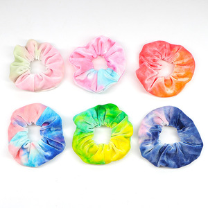 2019 New Rainbow Soft Velvet Scrunchies Tie-dye Hair Ring Rubber Band Elastic Hair Bands Rope Ties Women Girl Hair Accessories