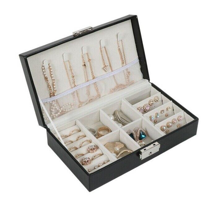 2020 Hot Gray Jewelry Organizer Jewellery Box Velvet Carrying Case Jewelry Ring Display Box Tray Holder Storage Box Organizer