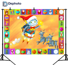 Cartoon Christmas Scene with Frame Photo Backdrop Robots Electronics Reindeer Photography Backgrounds for the Children