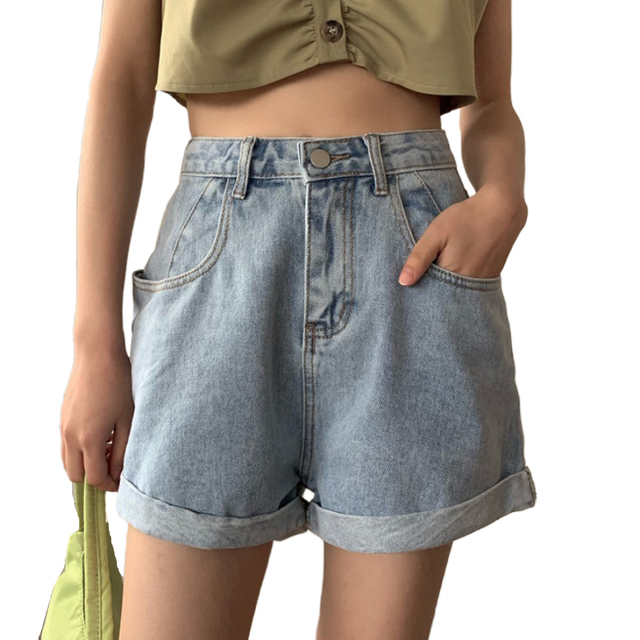 Summer Jean Shorts Women New Korean-Style Womens Clothing Loose High Waist Wide Leg Denim Shorts Women's Clothing & Accessories