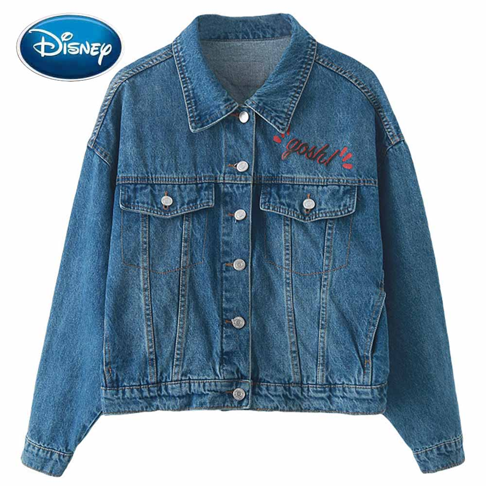 Disney Denim Jacket Fashion Back Mickey Mouse Cartoon Print Turn-down Collar Long Sleeve Pocket Casual Women Outerwear Tee Top