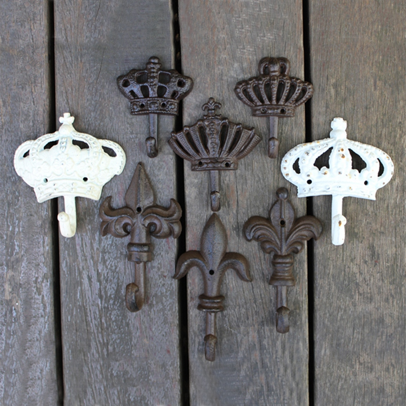JD European-style Crown Series Retro Cast Iron Wrought Iron Hook Coat Hook Decoration Hook Wall Decoration
