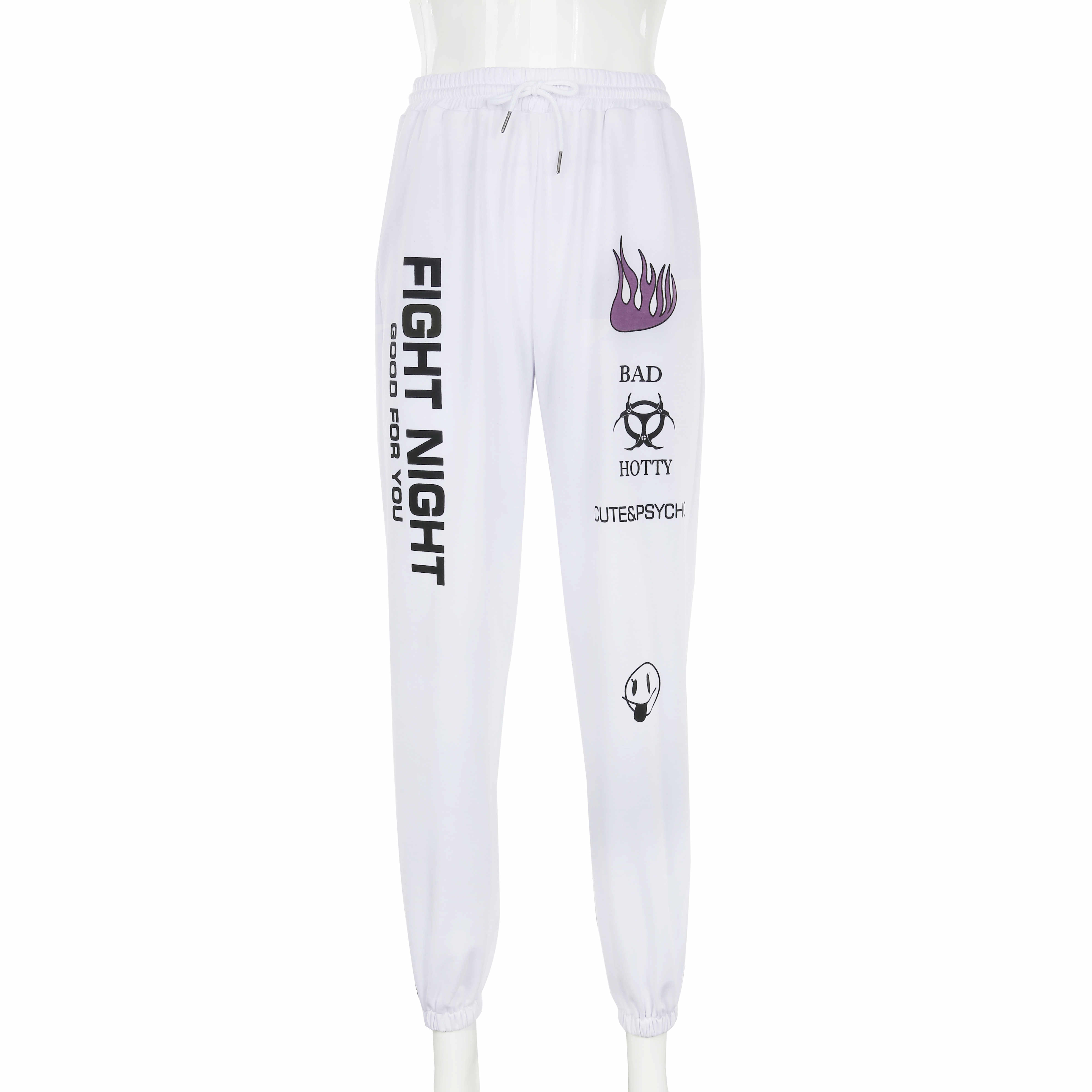 H23615937cdf9449a83bed8b86bc907c97 - Weekeep Knitted High Waist Printed Ankle Length Sweatpants Women White Streetwear Trousers Women Autumn Winter Fashion Pants